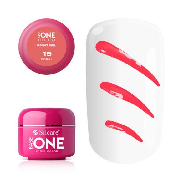 Silcare Base One Paint gel, díszítő zselé, Coral 15#